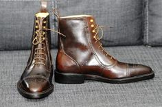 Men's Handmade Ankle High Tone Cognac Cap Toe