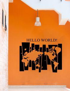 Привет карта мира виниловая наклейка домашнего декоракупить в магазине Home StickerнаAliExpress