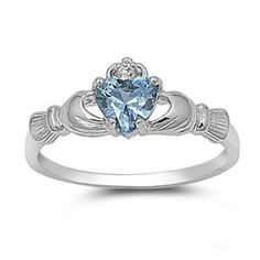 9MM 2ctw Sterling Silver MARCH LIGHT BLUE AQUAMARINE BIRTHSTONE ROYAL HEART Claddagh Ring 4-10 for only $15.95