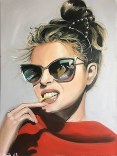 Buy Prints of My cool glasses 2, a Acrylic on Canvas by Maria Folger from United States. It portrays: People, relevant to: beauty, red, blonde, sunglasses, warm, woman, french fries, sexy art, face, cool glasses Senasual beautiful woman eating fries cool sunglasses