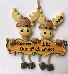 Personalized Christmas Moose Family Ornaments- Newlyweds 1st Xmas,Family of two, twins, couple, Grandkids, Co-workers, Friends by KUTEKUSTOMKREATIONS on Etsy