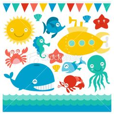Submarine And Sea Creatures Royalty Free Stock Vector Art Illustration