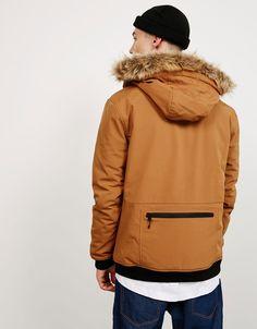 Cazadora efecto neopreno pelo en capucha - Abrigos y chaquetas - Bershka España