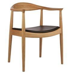Hans Wegner Style Round Dining Armchair in Natural #Modern