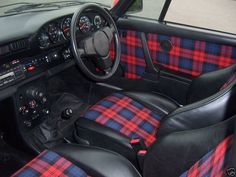 A tartan car interior. Scottish Plaid, Scottish Tartans, Tweed, Reupholster Car Seats, Tartan Fashion, Tartan Plaid, My Favorite Color, Houndstooth, Bespoke Tailoring