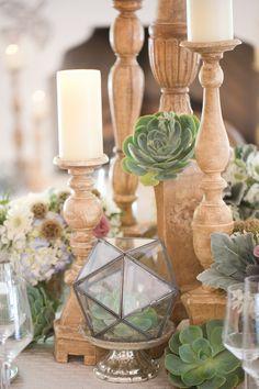 succulent centerpieces - photo by Amy and Jordan Photography http://ruffledblog.com/paradise-valley-wedding-inspiration