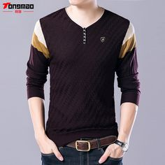 d2254cb68c0cb2 2017 New Arrival Autumn High Quality Warm Slim Fit Sweater Men Knitted Wool  Pullover Button V Neck Wear Cashmere Pull Homme-in Pullovers from Men s  Clothing ...