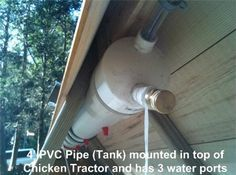 pvc water tank chicken waterer.  and heat tape to keep it warm in winter... what is heat tape?