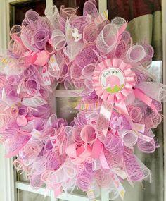 Door wreaths baby girl deco mesh 44 ideas for 2019 Baby Door Wreaths, Hospital Door Wreaths, Deco Mesh Wreaths, Baby Girl Wreaths, Wreath Crafts, Diy Wreath, Wreath Making, Wreath Ideas, Baby Chower