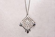 Pendant necklace long beige ecru floral necklace spring jewelry. €15.00, via Etsy.