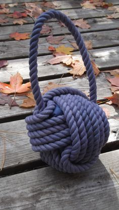 Brand New Blue Cotton Nautical Doorstop with by KarensRopeWork Doorstop, Nautical, Brand New, Unique Jewelry, Handmade Gifts, Cotton, Blue, Handle, Canada