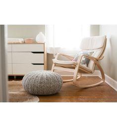 IKEA POÄNG rocking-chair, birch veneer. Poof foot rest.