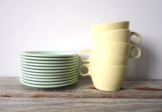 Vintage 1950s Melamine Tea Cups by GallivantingGirls on Etsy, $23.00