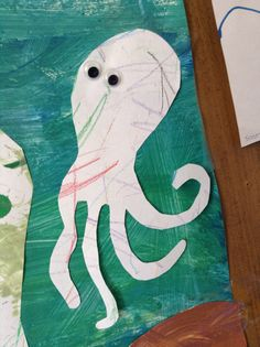 Easy octopus: kids color on a piece of paper, cut out and add googly eyes!