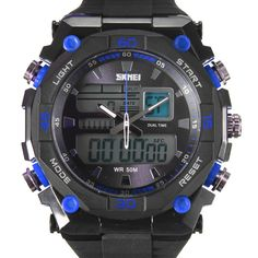 Sale 12% (9.99$) - SKMEI AD1092 LED Analog Digital Luminous Men Sport Wrist Watch