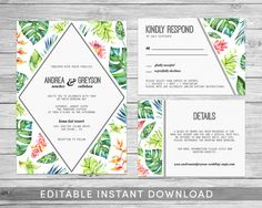 Tropical Wedding Invitation Printable Wedding by mocapaperco