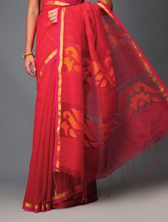 Red-Pink Sequinned Silk Jamdani Saree #sequinned #hand woven #sheer #vibrant #scarlet