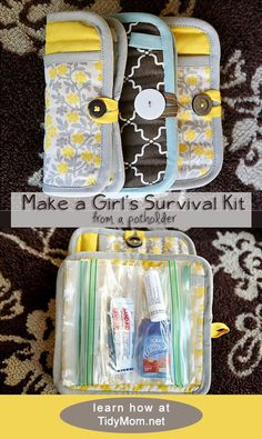 Learn how to MAKE A GIRLS EMERGENCY SURVIVAL CLUTCH from a potholder at TidyMom.net