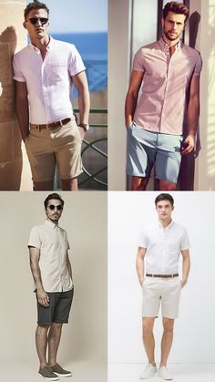 Men's Short Sleeved Shirts and Tailored Shorts - Summer Fashion/Style Outfit Inspiration Lookboo Mens Fashion Summer Outfits, Stylish Mens Fashion, Cool Summer Outfits, Mens Fashion Suits, Men's Fashion, Fashion Trends, Fashion Styles, Fashion Photo, Latex Fashion