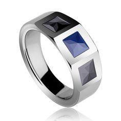 Nueva moda alta calidad anillos de tungsteno del embutido negro / azul de alta tecnología para hombre fresco con mejor que envía libremente