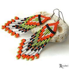 Beaded Earrings Seed Bead Earrings Boho Beadwork by Anabel27shop