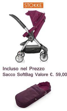 OFFERTE IN PURPLE PER STOKKE: Passeggino Scoot Purple + Sacco SoftBag e Marsupio MyCarrier Purple + Bavaglini. Scoprile sul nostro sito! http://www.lachiocciolababy.it/passeggini-4-ruote/7655-passeggino-stokke-scoot-purple-sacco-softbag.html