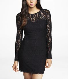 LACE OPEN BACK SHEATH DRESS | Express