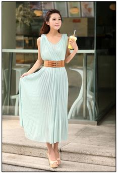 Cheap Wholesale Elegant V-Neck Solid Color Sleeveless Chiffon Women's Maxi Pleated Dress (BLUE,L) At Price 16.58 - DressLily.com