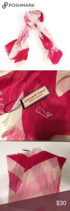 Vineyard Vines Pink Chevron Scarf New with tags, light weight, pink Chevron pattern Vineyard Vines Accessories Scarves & Wraps