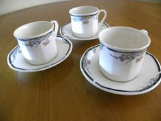 Royal Doulton JUNO Tea Cup Saucer x 3 Hexagonal Irises Oven proof Made  England
