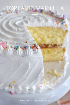 Torta de vainilla – New Cake Ideas Funfetti Kuchen, Funfetti Cake, Banana Recipes, Cake Recipes, Dessert Recipes, Bolos Cake Boss, Cocoa Cake, Pecan Cake, Un Cake