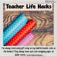 Teacher Life Hack Classroom Uses for Wrapping Paper - 2 Peas and a Dog Owl Theme Classroom, Middle School Classroom, Classroom Hacks, Classroom Setup, Classroom Design, Kindergarten Classroom, Teacher Organization, Teacher Hacks, Teacher Stuff