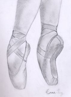 Beautiful Pointe Shoe Sketch ~~ I wanna draw something like this soon.(: