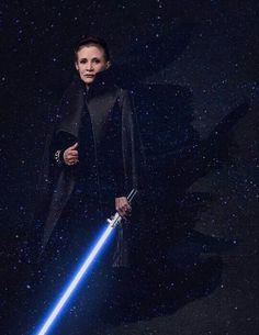 Please let her have a light saber on VIII...