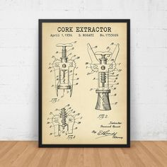 Cork Extractor Patent Print, Digital Download, Wine Cork Screw, Wine Tour Art, Wine Art Poster, Winery Wall Art, Bacchus Dionysus, Blueprint by DigitalBlueprints on Etsy https://www.etsy.com/listing/488873081/cork-extractor-patent-print-digital