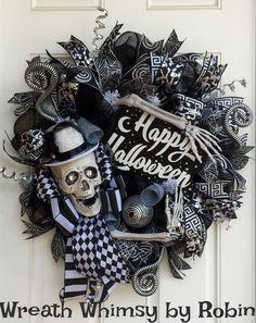 Halloween Skeleton Black & Silver Deco Mesh by WreathWhimsybyRobin