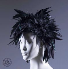 Black feather headdress / Punk headpiece / Feathered art wig / Edgy fashion / Cosplay feather wig/ Burning man / Mini mohawk / Gothic hair by MetamorphQC on Etsy https://www.etsy.com/listing/290138951/black-feather-headdress-punk-headpiece