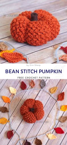 Bean Stitch Pumpkin Free Crochet Pattern Bean stitch is very decorative, so it works perfectly in th Thanksgiving Crochet, Holiday Crochet, Crochet Gifts, Cute Crochet, Crochet Fall Decor, Crochet Food, Crotchet, Crochet Pumpkin Pattern, Halloween Crochet Patterns