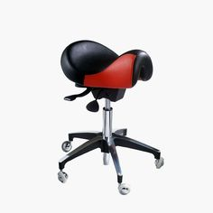WBX Ascot Saddle Stool with the infinitely adjustable seat mechanism to place your back in the correct posture while cutting and styling hair.