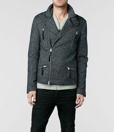 Mens Seton Biker Jacket (Charcoal) | ALLSAINTS.com