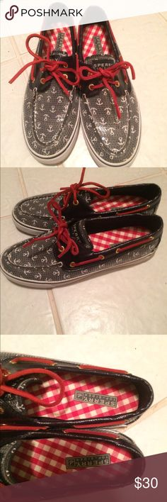 Barely worn anchor Sperrys  PRICE DROP! These were my sisters and she grew out of them.  Size 8.5.  Super cute! Sperry Shoes Flats & Loafers
