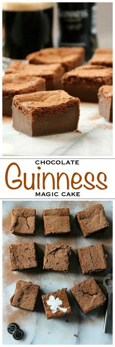 Chocolate magic cake with the famous Irish stout Guinness! Perfect for a St Patrick's Day party | Foodness Gracious