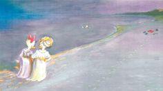 P.S. Krøyers berømte værk 'Sommeraften ved Skagen Sønderstrand' i Anders And & Co.'s udgave.