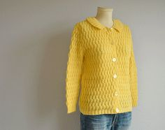 Vintage Mohair Cardigan / 1960s Buttercup Yellow by zestvintage