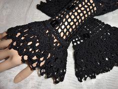 Fine Crochet Black Gothic Steampunk Victorian Mourning Noir NeoVictorian Vampire Halloween Lace Wrist Cuffs Vampire Wiccan. $25.00, via Etsy.