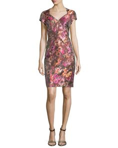 TBW7W Theia Short-Sleeve Floral Jacquard Cocktail Dress, Cactus Rose