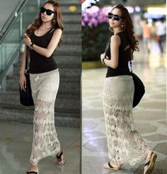Aliexpress.com : Buy 2014new hot sale fashion summer women hollow out crochet lace long skirt fitness embroidery bohemian transparent sea beach skirt from Reliable Skirts suppliers on Semon store