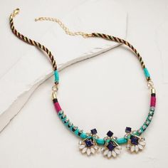 Gold, Jewel and Thread Statement Necklace | World Market