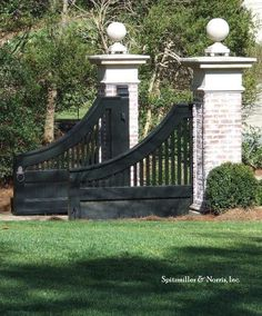 Entrance Gate Private Residence by Spitzmiller & Norris, Inc.Column necks without the finial rounds? Add urns for plants on top or lights instead. Tor Design, Gate Design, Farm Gate, Fence Gate, Front Gates, Entrance Gates, Le Ranch, Driveway Entrance, Driveway Ideas