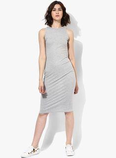 b82bf3c57b13c Buy MIAMINX Grey Melange Solid Bodycon Dress Online - 3553884 - Jabong